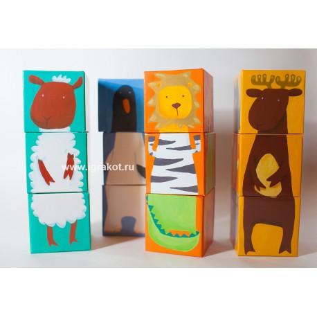 Кубики, Животные, 12 шт. Djeco (Франция)