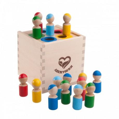 Счетный материал Разноцветные человечки в коробочке