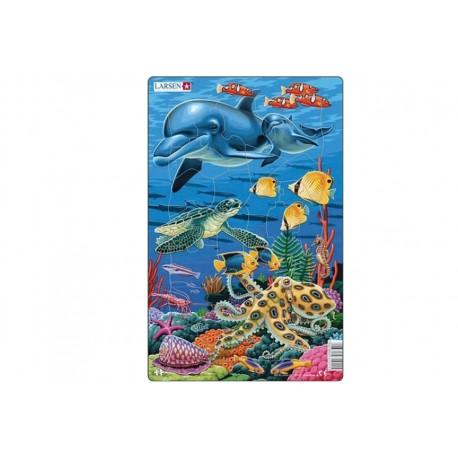 """Пазл """"Коралловые рифы дельфины"""" Larsen (Норвегия)"""