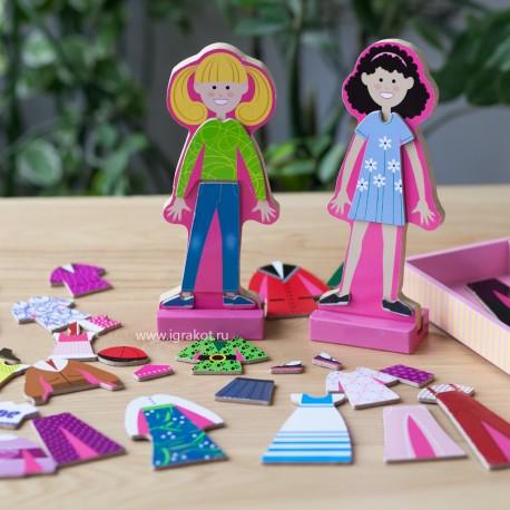 """Деревянные магнитные куклы """"Одень Эббу и Эмму"""", Melissa and Doug (США) 4940"""