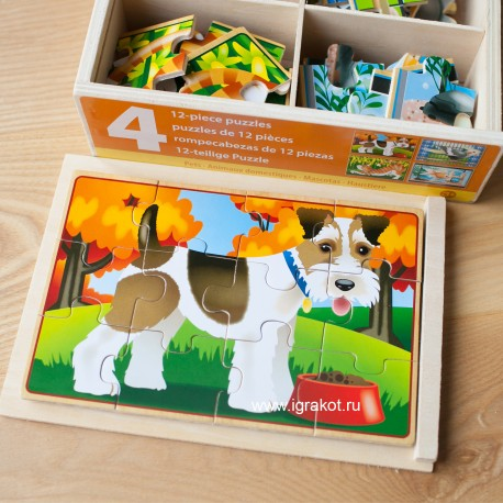 """Деревянные пазлы в коробке """"Домашние животные"""" Melissa and Doug(США)  3790"""