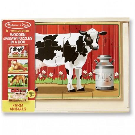 Деревянные пазлы в коробке Животные с фермы Melissa and Doug (США) 3793