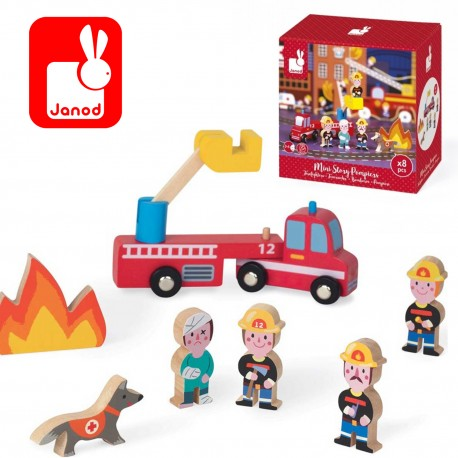 Набор деревянных фигурок Маленькие истории. Пожарные  Janod (Франция)