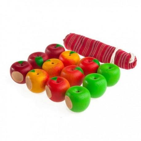 Счетный материал 12 яблочек наливных в льняном мешочке Леснушки