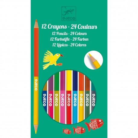Набор 12 двухсторонних карандашей Djeco (Франция) 09758