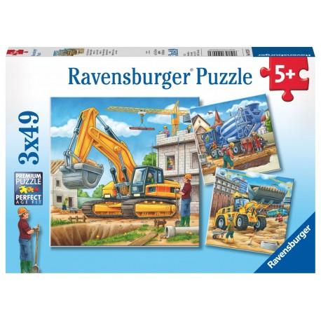 """Пазл  """"Большие строительные машины"""", 3х49 элементов Ravensburger (Германия)"""