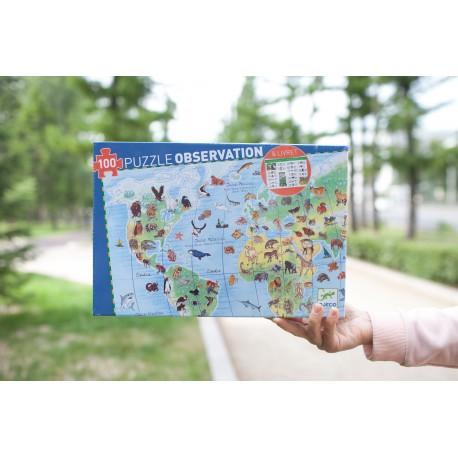 Пазл Животные Земли, 100 деталей Djeco (Франция) 07420