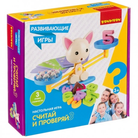 Настольная игра «СЧИТАЙ И ПРОВЕРЯЙ» с котиком  Bondibon ВВ4267
