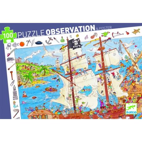 Пазл-игра на на наблюдательность Djeco Пираты, 100 деталей