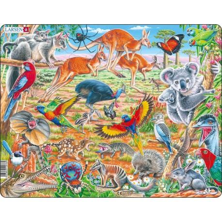 """Пазл Дикие животные Австралии"""", 60 деталей  Larsen (Норвегия)  FH45"""
