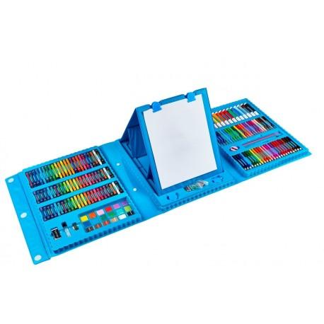 Набор Юного художника для рисования 208 предметов с мольбертом (синий)