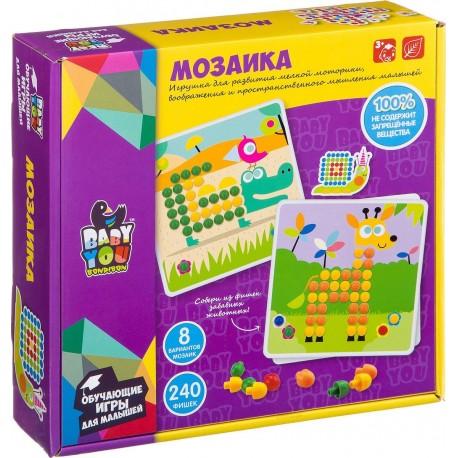 Мозаика для малышей 8 картинок-шаблонов Bondibon